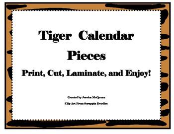 Tiger Themed Calendar Pieces