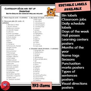 Tiger-Themed Classroom Decor and Set Up 2 with Editable Labels WINTER EDITION