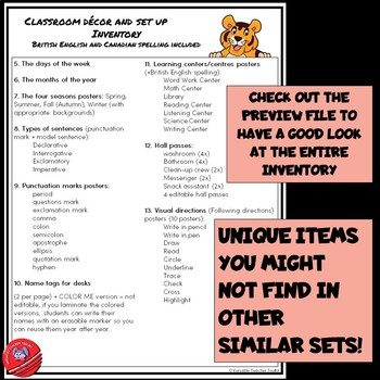 Tiger-Themed Classroom Decor and Set Up 3 with Editable Labels WHITE BACKGROUND