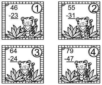 Tiger Themed Double Digit Subtraction with No Regrouping