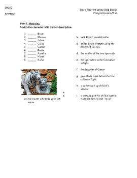 Tiger Tiger by Lynne Reid Banks - novel test