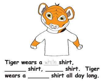Tiger Wears A Red Shirt Color Word Pack