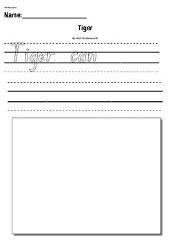 Tiger by Nick Butterworth- Writing Response Activity Worksheet