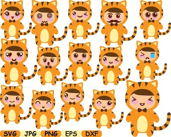 Tiger kawaii chibi emoji clip art cutting zoo animal jungle wood party face 12sv