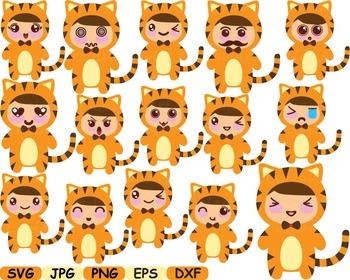 Tiger kawaii chibi emoji clip art cutting zoo animal jungl