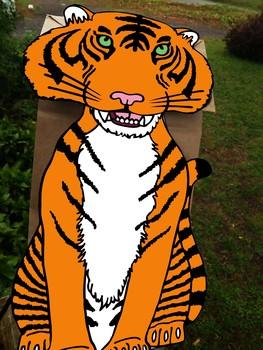 Tiger puppet, Tiger Paper Bag Puppet, Tiger puppet template