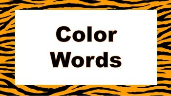 Tiger themed color words