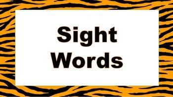 Tiger themed sight words
