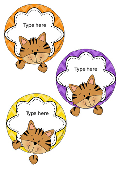 Tigers Editable Name Tags - Custom Order for Paula