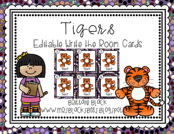 Tigers~ Editable Write the Room