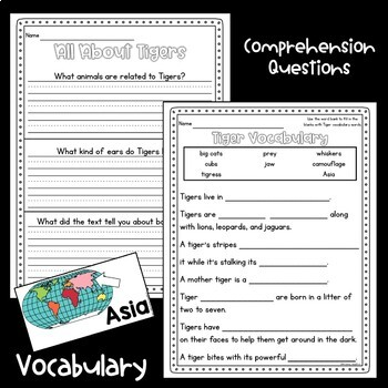 Tigers Guided Reading Comprehension and Fluency Passages