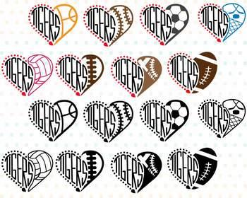 Tigers Sport Heart SVG Mascot football baseball basketball soccer 975S