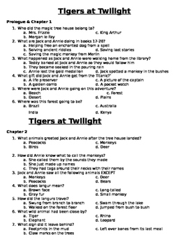 Tigers at Twilight Comprehension Questions