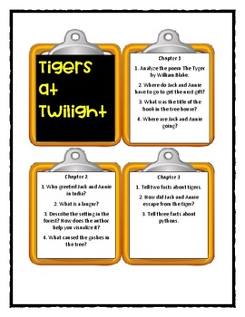 Magic Tree House TIGERS AT TWILIGHT - Discussion Cards