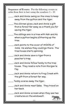 Tigers at Twilight: Magic Tree House #19 Novel Study / Reading Comprehension