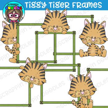 Tiggy Tiger Frames Clipart {Scrappin Doodles Clipart}