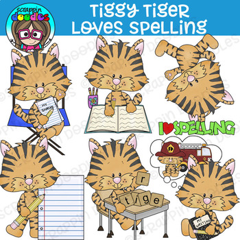 Tiggy Tiger Loves Spelling Clipart {Scrappin Doodles Clipart}