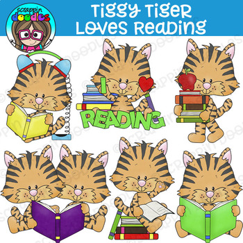 Tiggy Tiger Loves To Read Clipart {Scrappin Doodles Clipart}