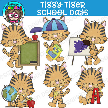 Tiggy Tiger School Days Clipart {Scrappin Doodles Clipart}