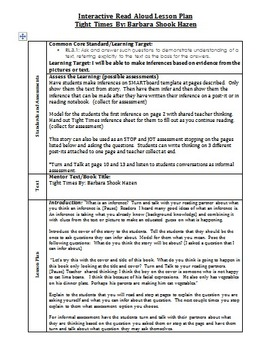 Tight Times Inferencing Interactive Read Aloud Lesson Plan w/Notebook File