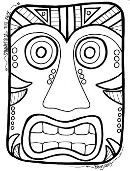 Tiki Face Coloring Sheet