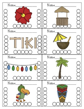 Tiki Themed Punch Cards