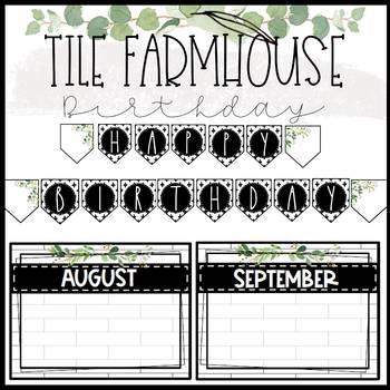 Tile Farmhouse Birthday Board and Banner