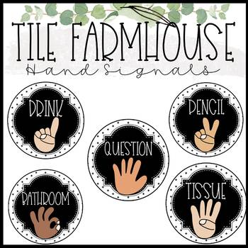 Tile Farmhouse Classroom Management: Champs, Hand Signals, and Behavior Chart
