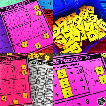 Tile It Math Centers: Addition and Subtraction Logic Puzzles