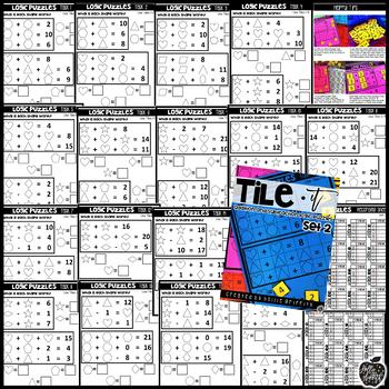 Tile It Math Centers: Addition and Subtraction Logic Puzzles Set 2