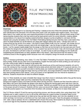 Tile Pattern Printmaking: Outline & Materials List