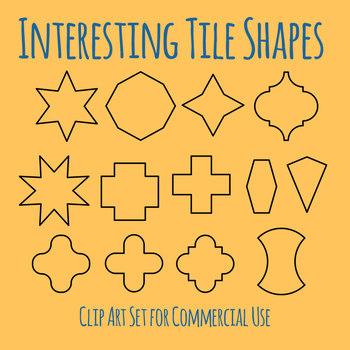 Tile Shapes for Seamless Tiling Patterns Clip Art Set for Commercial Use