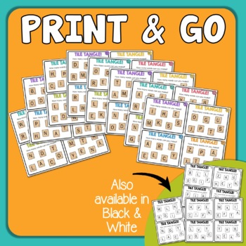 Word Work Tile Tangle Task Cards! Engaging Word Game
