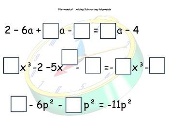 Tile-onomics Adding & Subtracting Polynomials