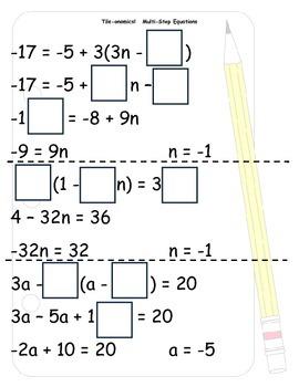 Tile-onomics Multi-Step Equations