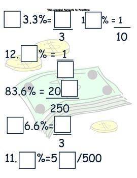 Tile-onomics Percent to Fraction