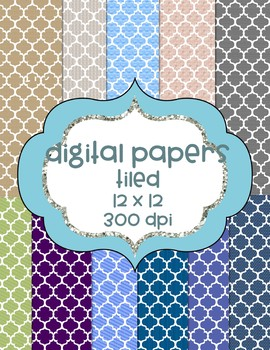 Tiled Digital Papers - 11 Colors  - Random Colors