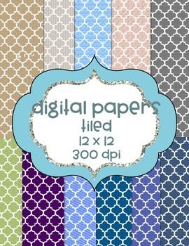 Tiled Digital Papers - 11 Colors  - Random Colors
