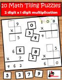 10 Tiling Puzzles for 2 digit x 1 digit Multiplication