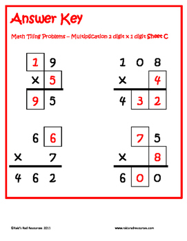 10 Tiling Puzzles for 2 digit x 1 digit Multiplication
