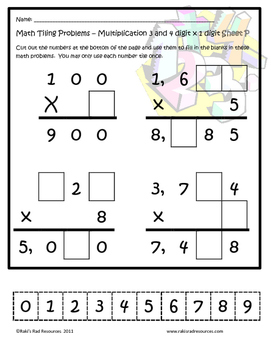 10 Tiling Puzzles for 3 and 4 digit x 1 digit Multiplication