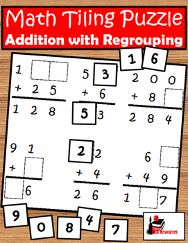 Tiling - Addition with Regrouping Puzzle - FREE