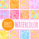 Tiling Handpainted Watercolor Digital Papers / Backgrounds / Clip Art Set