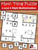 3 & 4 digits by 1 digit - Multiplication Tiling Puzzle - FREE