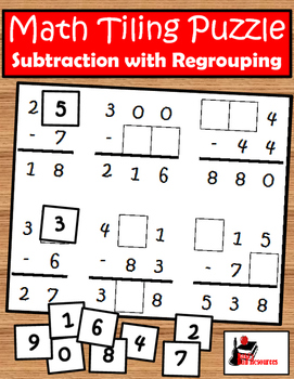 Tiling - Subtraction with Regrouping Puzzle - FREE