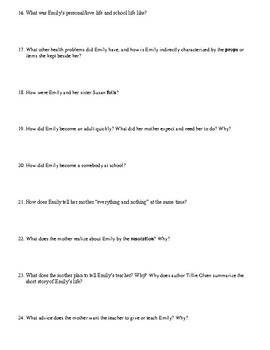 "Tillie Olsen's ""I Stand Here Ironing"" Anticipation Guide/Comprehension Questions"