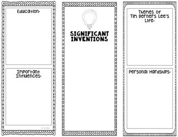Tim Berners Lee - Inventor Research Project Interactive Notebook, Scientist