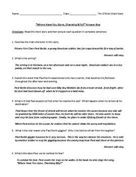 Vietnam War Stories by Tim O'Brien: Assessments/Worksheets and Answer Keys