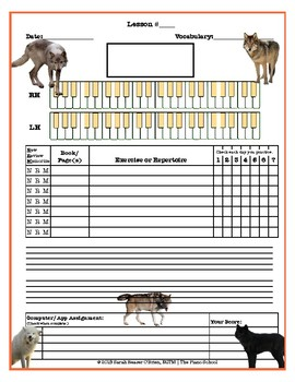 Timberwolves (Wolves) Themed Piano Lesson Assignment Sheet