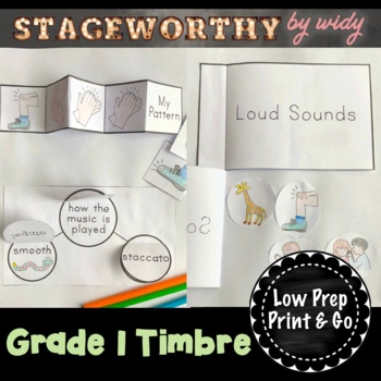 Timbre & Articulation (Instruments) Music Interactive Notebook - Grade 1